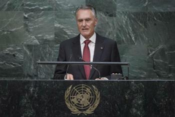 Aníbal Cavaco Silva em discurso na 70ª Assembleia Geral. Foto: ONU/Amanda Voisard