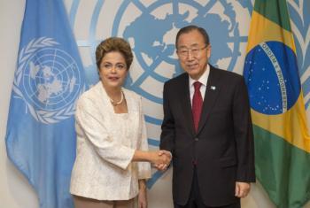 Dilma Rousseff e Ban Ki-moon antes dos debates. Foto: ONU/Eskinder Debebe