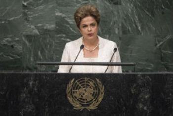 Presidente do Brasil, Dilma Rousseff, em discurso na 70ª Assembleia Geral da ONU. Foto: ONU/Cia Tak.