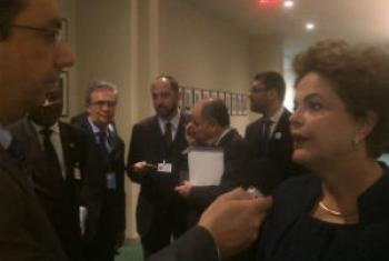 Dilma Rousseff em entrevista à Rádio ONU. Foto: Rádio ONU