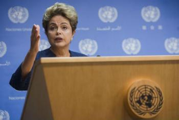 Dilma Rouseff em coletiva de imprensa na sede da ONU, em Nova York. Foto: ONU/Amanda Voisard
