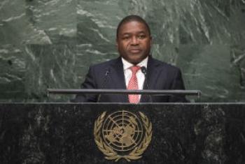 Filipe Jacinto Nyusi discursa na 70ª Assembleia Geral. Foto: ONU/Cia Pak