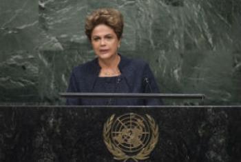 Presidente do Brasil, Dilma Rousseff, em discurso na Cúpula sobre o Desenvolvimento Sustentável, na ONU. Foto: ONU/Cia Pak