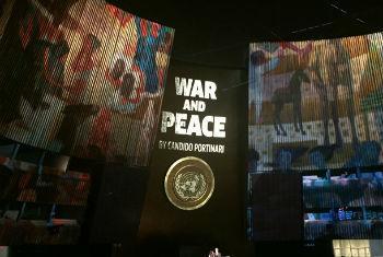 """Evento de reinauguração dos painéis """"Guerra e Paz"""" de Candido Portinari, na sala da Assembleia Geral da ONU. Foto: Rádio ONU."""