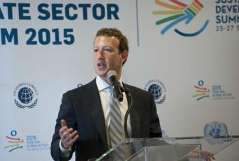 Mark Zuckerberg nas Nações Unidas. Foto: ONU/Kim Haughton