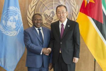 Encontro do Ban Ki-moon com o presidente de Moçambique, Filipe Jacinto Nyusi. Foto: ONU/Eskinder Debebe