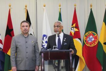 Ministro timorense dos Negócios Estrangeiros e Cooperação, Hernani Coelho, com o secretário executivo da Cplp, Murade Murargy. Foto: Cplp.