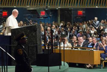 Papa Francisco em discurso na Assembleia Geral da ONU, nesta sexta-feira. Foto: ONU/Evan Schneider