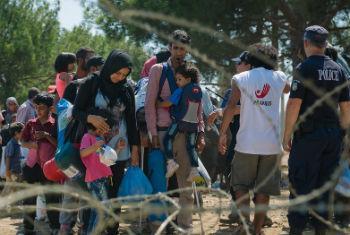 Refugiados esperam cadastro na fronteira entre Macedónia e Grécia. Foto: UNICEF/Gjorgji Klincarov