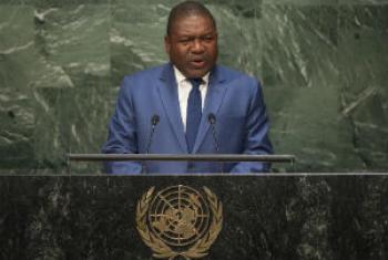 Presidente de Moçambique Filipe Jacinto Nyusi em discurso na Cimeira sobre o Desenvolvimento Sustentável. Foto: ONU/Cia Pak