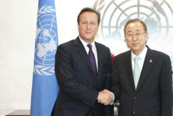 David Cameron e Ban Ki-moon encontraram-se no ano passado. Foto: ONU/Kim Haughton