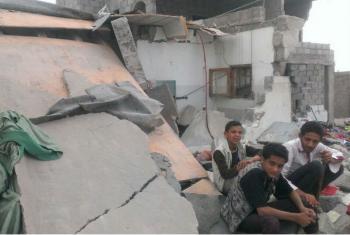 Casas destruídas noIêmen durante os conflitos. Imagem: Almigdad Mojalli/IRIN