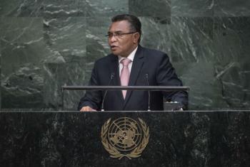 Primeiro-ministro do Timor-Leste, Rui Maria de Araújo, em discurso na Assembleia Geral da ONU. Foto: ONU/Amanda Voisard