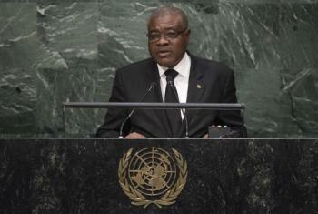 Manuel Salvador dos Ramos na Assembleia Geral. Foto: ONU/Cia Pak