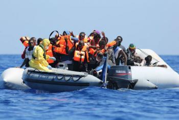Resgate de migrantes no mar Mediterrâneo. Foto: OIM