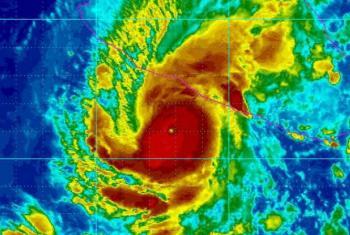 Imagem de satélite de um furacão. Imagem: OMM