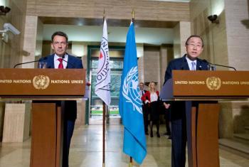 O secretário-geral da ONU, Ban Ki-moon, e o presidente do Comitê Internacional da Cruz Vermelha, Peter Maurer em Genebra. Foto: ONU