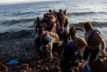 Chegada de refugiados à ilha de Lesbos, Grécia. Foto: Acnur/A. McConnell