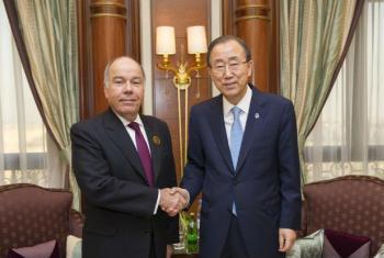 Ban Ki-moon em encontro com Mauro Vieira. Foto: ONU/Rick Bajornas