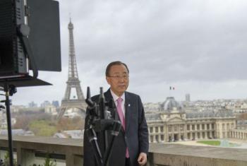 Secretário-geral, Ban Ki-moon, em Paris. Foto: ONU/Rick Bajornas