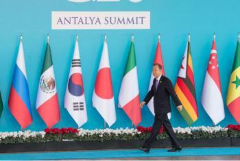Secretário-geral, Ban Ki-moon, na reunião dos líderes do G-20, em Antália, na Turquia. Foto: ONU/ Eskinder Debebe