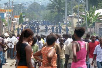 Protestos em Bujumbura, Burundi, após a reeleição do presidente Pierre Nkurunziza. Foto: Irin/Desire Nimubona