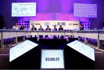 O Fórum aborda oito subtemas, entre eles cibersegurança e confiança. Foto: ONU/Ricardo Matsukawa.