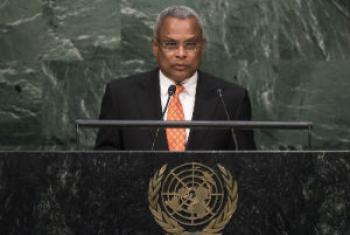 José Maria Neves em discurso na Assembleia Geral da ONU. Foto: ONU/Cia Pak