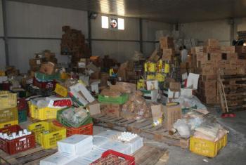 Armazém com produtos para ajuda humanitária em Zintan. Foto: Ocha/Jihan El Alaily