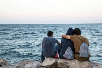 Refugiados na ilha grega de Lesbos. Foto: OIM/Amanda Nero