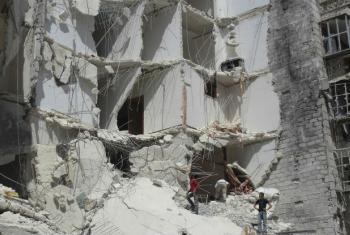 Edifícios destruídos em Alepo, Síria. Foto: Ocha/Gemma Connell