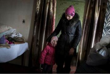 Katia e a filha, Sofia, foram algumas das beneficiadas da ajuda entregue no início do ano. Foto: Acnur/A.McConnell