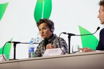 Christiana Figueres em discurso na COP 21. Foto: ONU COP 21