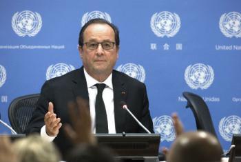 François Hollande esteve na ONU em setembro. Foto: ONU/Evan Schneider