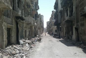 Prédios destruídos na cidade antiga em Homs, na Síria. Foto: Unicef/Nasar Ali