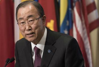 Ban Ki-moon em declarações a jornalistas. Foto: ONU/Mark Garten