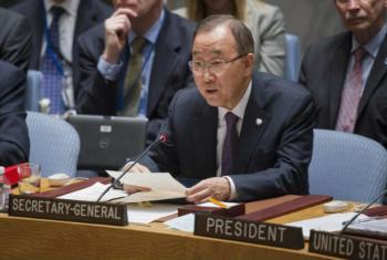 Ban Ki-moon em discurso, nesta sexta-feira, no Conselho de Segurança. Foto: ONU/Eskinder Debebe