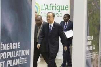 Ban com líderes africanos em Paris. Foto: ONU/Eskinder Debebe