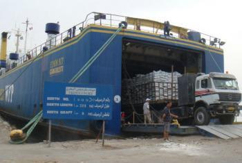 Chegada de assistência alimentar na Líbia. Foto: PMA