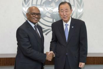 Miguel Trovoada em encontro com o Ban Ki-moon. Foto: ONU/Eskinder Debebe