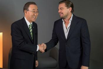 Na COP21, Ban Ki-moon encontrou-se com o ator e Mensageiro da Paz da ONU para o clima, Leonardo DiCaprio