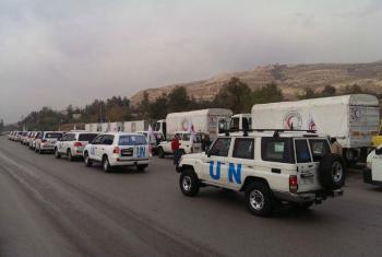 Comboio humanitário a caminho da cidade sitiada de Madaya, na Síria. Foto:Ocha Síria