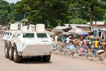 Boinas azuis da Minusca em patrulha Bambari. Foto: ONU/Catianne Tijerina