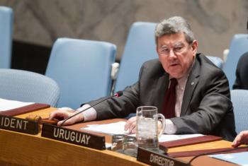 O embaixador do Uruguai junto às Nações Unidas, Elbio Rosselli, em reunião no Conselho de Segurança nesta quarta-feira. Foto: ONU/Manuel Elias