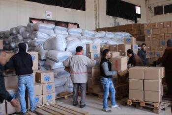 Ajuda humanitária levada para Mandaya, na Síria. Foto: Vídeo Unicef