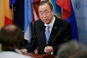 Secretário-geral da ONU fala com jornalistas na sede da organização. Foto: ONU/Paulo Filgueiras