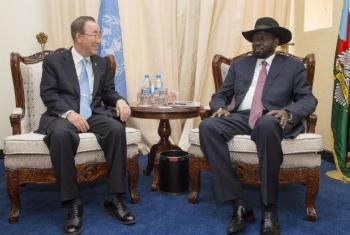 Encontro de Ban Ki-moon e o Presidente do Sudão do Sul, Salva Kiir. Foto: ONU/Eskinder Debebe