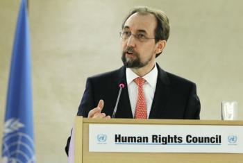 O alto comissário da ONU para os Direitos Humanos, Zeid Al Hussein, em discurso nesta segunda-feira; Foto: ONU/Pierre Albouy