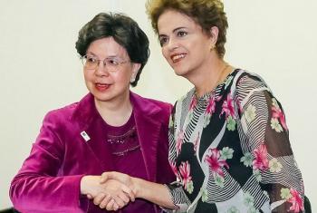 Margaret Chan (à esq.) com a presidente do Brasil, Dilma Rousseff. Foto: Presidência da República/Roberto Stuckert Filho