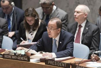 Ban Ki-moon em discurso no Conselho de Segurança, nesta quinta-feira, 10 de março. Foto: ONU/Mark Garten